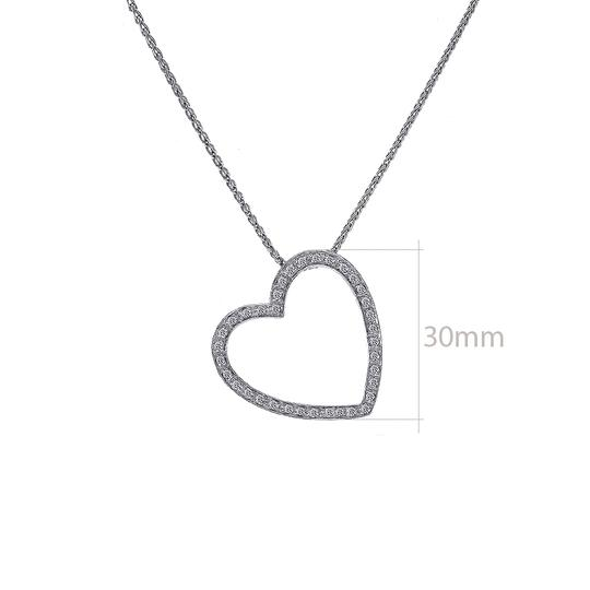 Avital & Co Jewelry 0.55 Carat Pave Diamond Heart Pendant on Wheat Link Chain 14K White G Image 2
