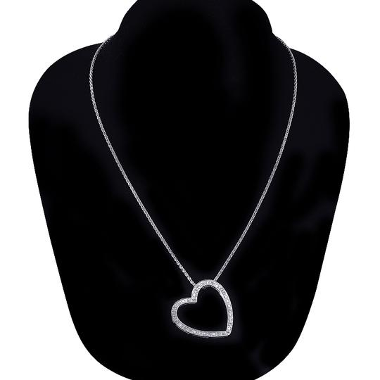Avital & Co Jewelry 0.55 Carat Pave Diamond Heart Pendant on Wheat Link Chain 14K White G Image 3