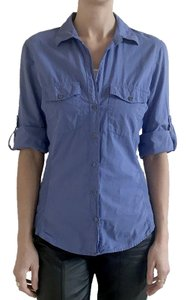 James Perse Button-up Blouse Rolled Sleeves Button Down Shirt Periwinkle