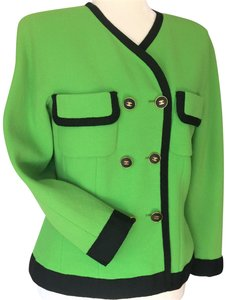 Chanel Wool Trim Cc Buttons CHANEL LIME GREEN & BLACK GROSGRAIN JACKET Jacket