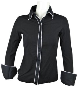 Anne Fontaine Career Fitted Colorblocked Button Down Shirt BLACK