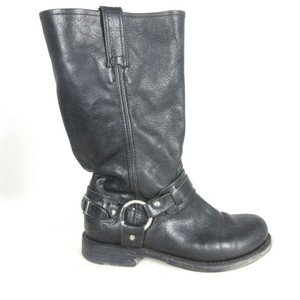 Frye Leather Harness Black Boots