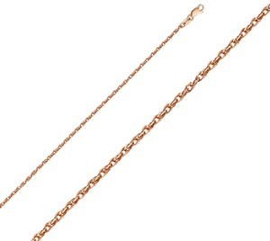 TGDJ 14k Pink Gold 2.2mm Double Link Hollow Rope Chain - 16