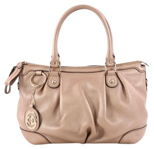 Gucci Leather Tote in Rose Gold