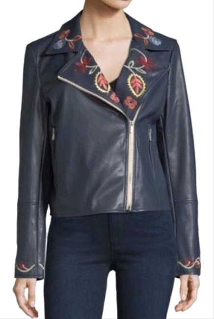Item - Navy Embroidered Faux-leather Biker Jacket Size 8 (M)