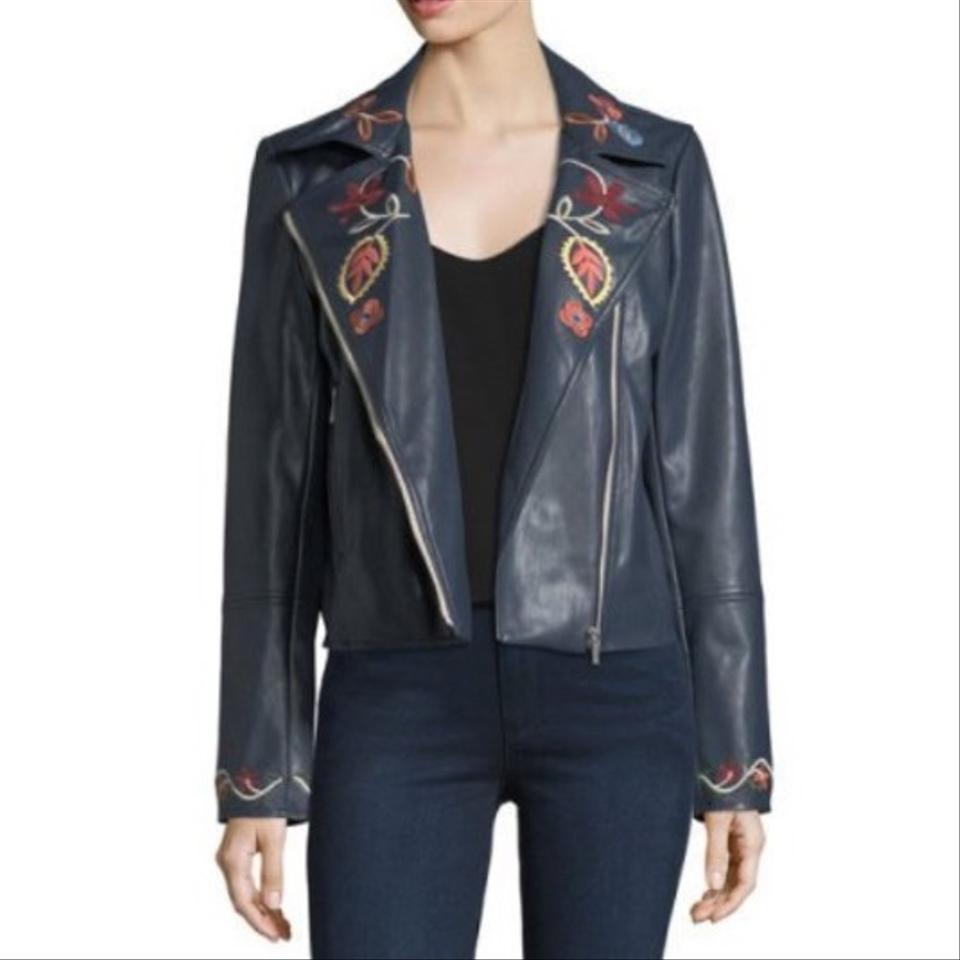 3eefddb76 Bagatelle Navy Embroidered Faux-leather Biker Jacket Size 8 (M) 62% off  retail