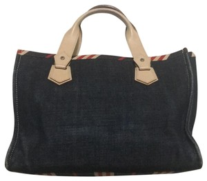 Burberry London Tote in Denim blue with red/beige stripes