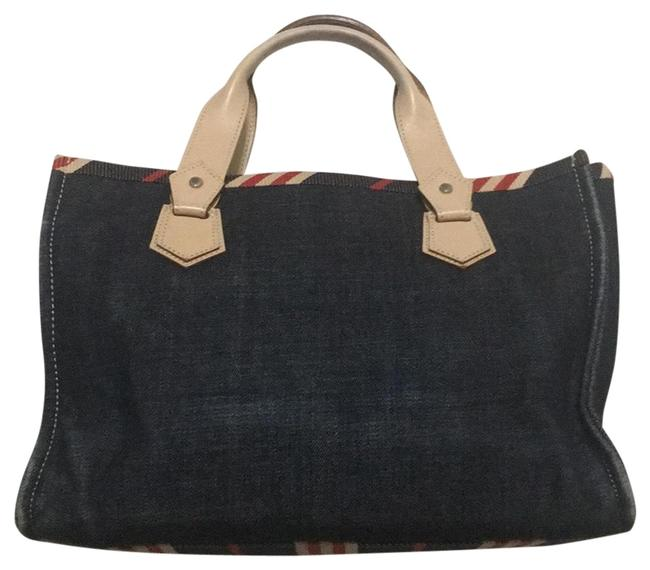 Item - Label Denim Blue with Red/Beige Stripes Canvas Tote