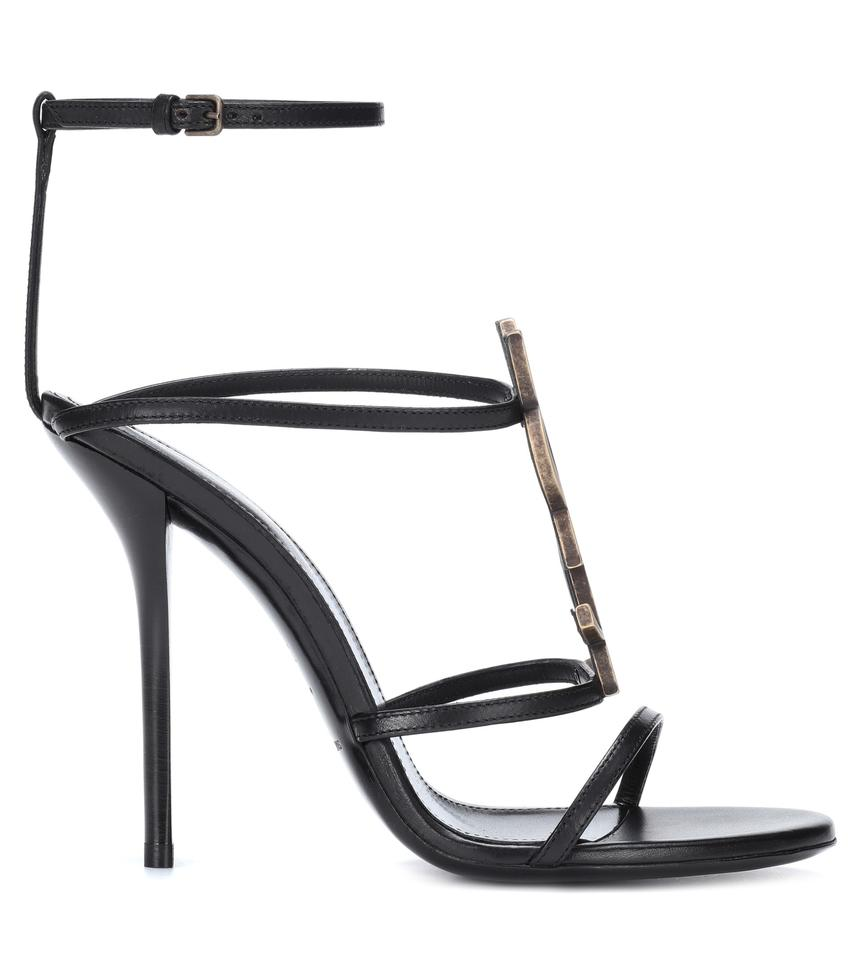 ac9fbb85dcc Saint Laurent Black Cassandre Ankle Strap Sandals Gold Brass Ysl ...