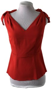 Etcetera Draped Zipper Short Sleeve V-neck High End Top Red