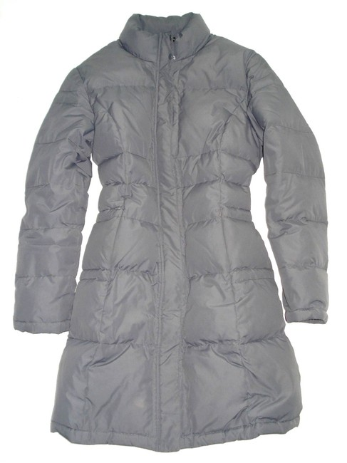 Item - Gray Quilted Goose Down Winter Long Jacket Puffer Coat Size 10 (M)