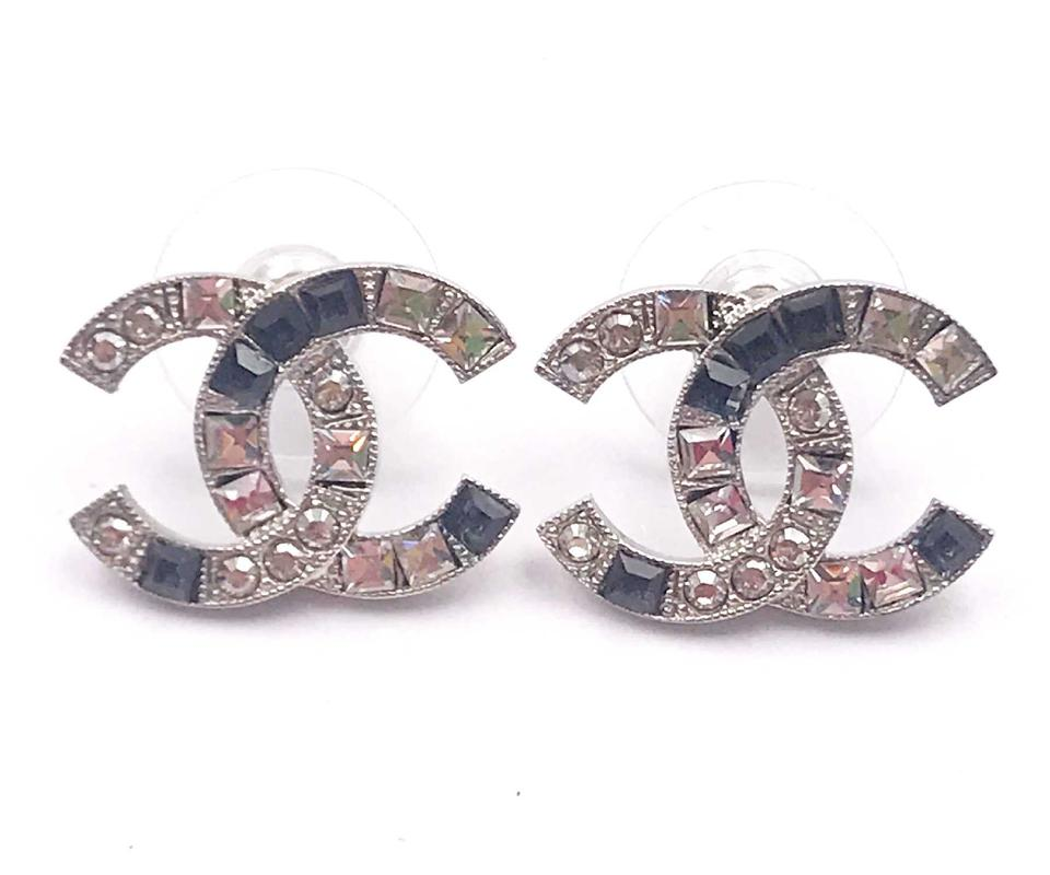 Chanel Brand New Cc Silver Black Square Crystal Piercing Earrings