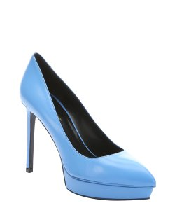 Saint Laurent Leather Pointy Party Classic Blue Pumps