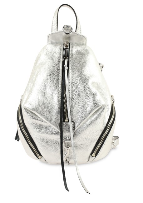 Item - Mini Convertible Silver Leather Backpack