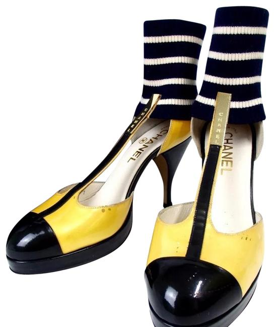 Item - Yellow Black and White Patent Leather Strap Pumps Formal Shoes Size US 6.5 Regular (M, B)