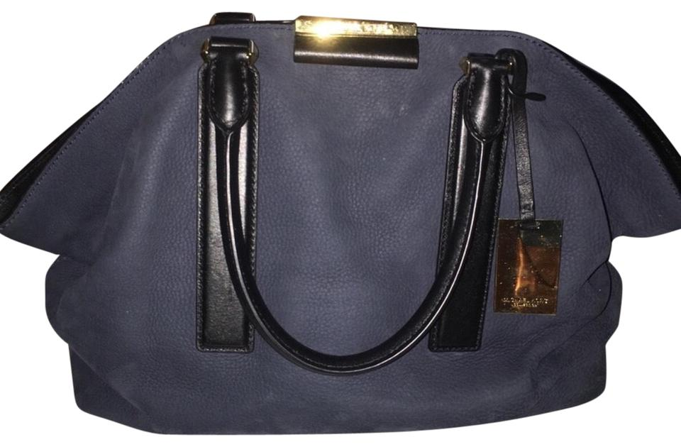 6d8b714b691d Michael Kors Collection Lexi Navy and Black Suede Leather Satchel ...