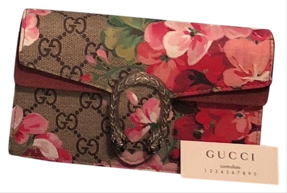 d2e9b45446ae Gucci Dionysus Gg Blooms Super Mini Canvas with Rose Suede Detail Shoulder  Bag