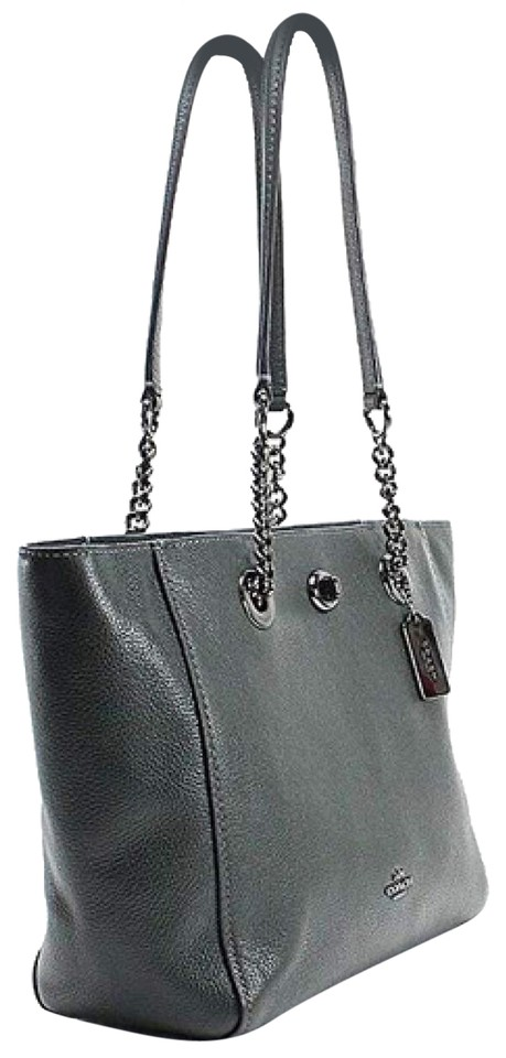 89335831502f Coach Womens Turnlock Chain 27 Dk Ivy Pebbled Leather Tote - Tradesy
