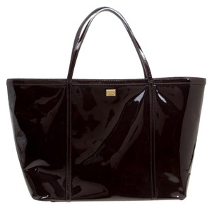 Dolce&Gabbana Patent Leather Tote in Brown