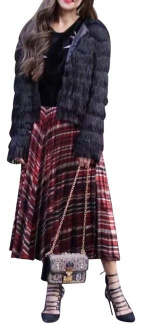 Item - Red Gold New Metallic Striped Print Pleated Skirt Size 2 (XS, 26)