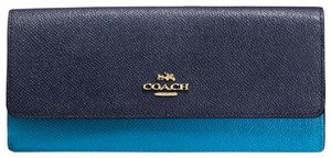 Coach ~Sold Out~Blue COACH Colorblock Genuine Leather Slim Wallet