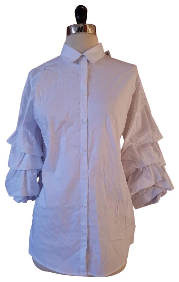a4bb6c946a5c1 Zara White New Poplin Puffy Frill Sleeves Button-down Top Size 2 (XS ...