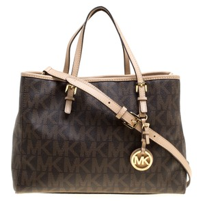 Michael Kors Coated Canvas Tote in Brown