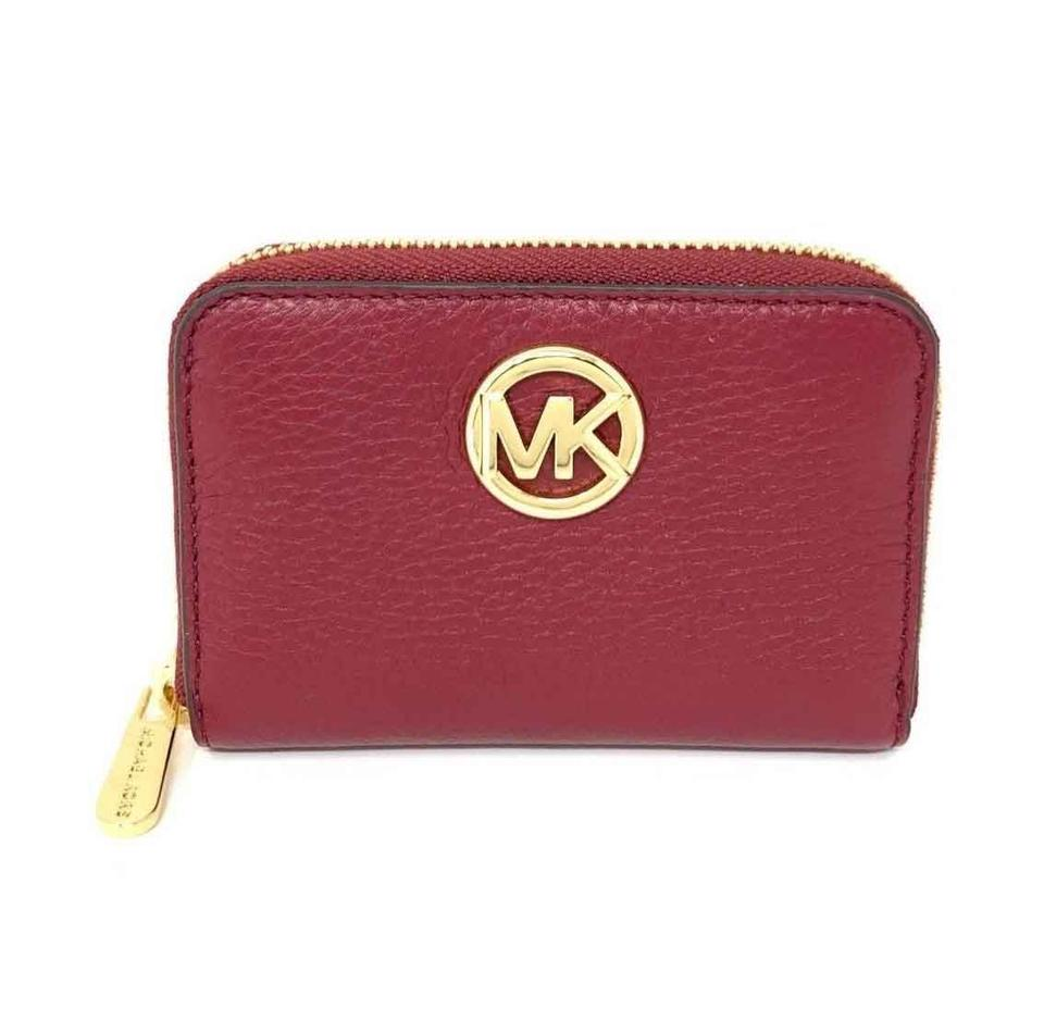 0950e5b6c12b75 Michael Kors Michael Kors Fulton Zip Around Coin Case Mulberry Leather  Small Wallet Image 0 ...