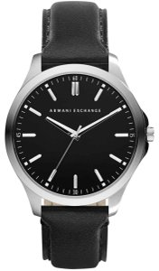 A|X Armani Exchange Armani Exchange Men's Stainless Steel Black Leather Strap Watch AX2149
