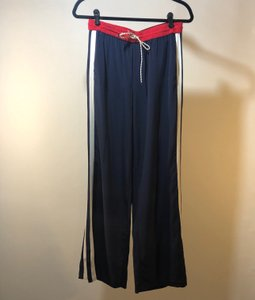 Joie Silk Wide Leg Pants Dark Navy with Cherry