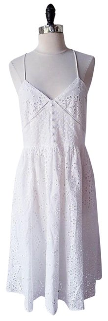 Zara White New Floral with Cutwork Embroidery Embellished Mid-length Cocktail Dress Size 12 (L) Zara White New Floral with Cutwork Embroidery Embellished Mid-length Cocktail Dress Size 12 (L) Image 1