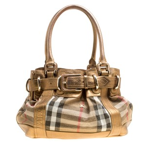 Burberry Leather Canvas Tote in Gold
