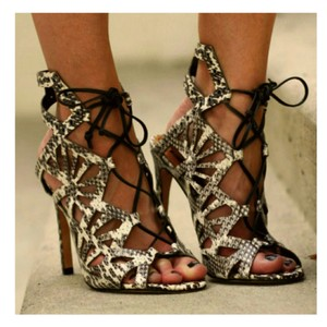 Dolce Vita Heels Snakeskin Cut-out Lace Up Heels Black and White Sandals