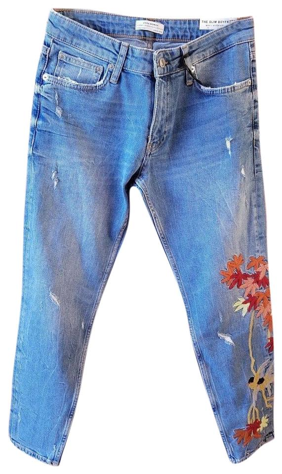 4aa9178d6b0 Zara Blue / Multicolor Distressed With Embroidery Boyfriend Cut Jeans
