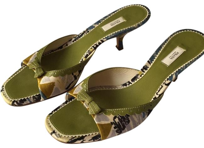 Item - Green Print Printed Av Mules/Slides Size US 8 Regular (M, B)