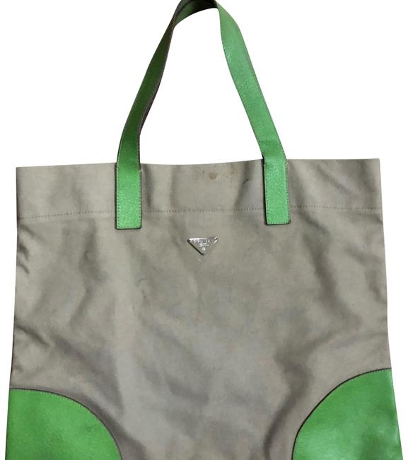 Item - Leather Lime Green and Khaki Canvas Tote