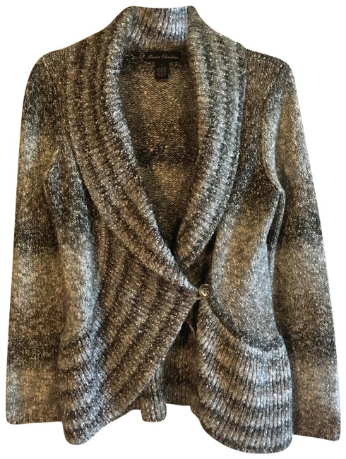 Item - Gray Taupe Ombré Woven Knit Thick Long Sleeve Sweater Cardigan Size 6 (S)