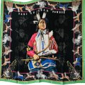 Hermès Hermes Scarf Pani La Shar Pawnee The New Washed Silk Carre 90 Black Gr