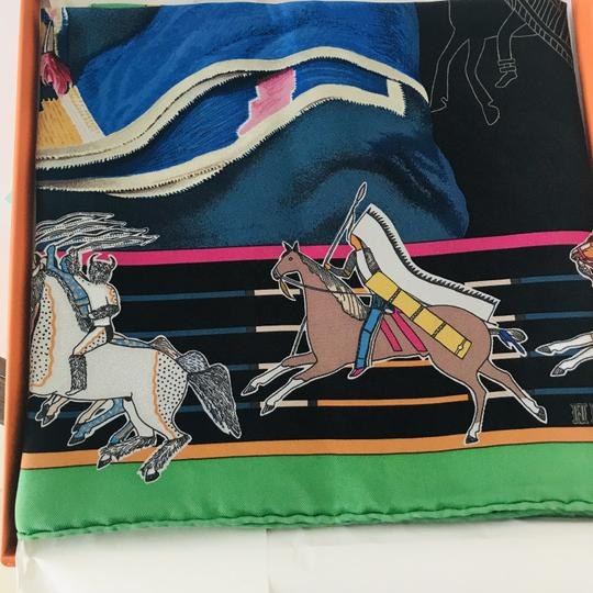Hermès Hermes Scarf Pani La Shar Pawnee The New Washed Silk Carre 90 Black Gr Image 4