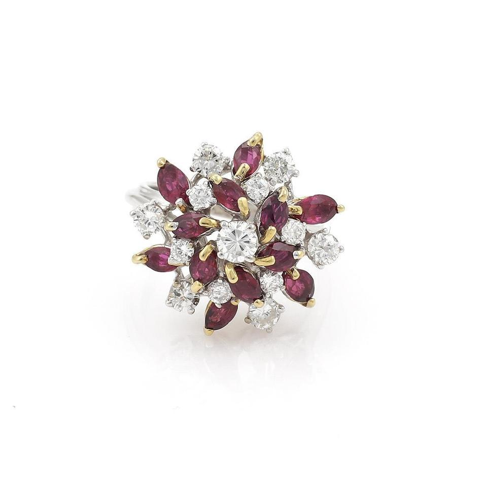 f3cc3e52d Other Estate 3.05ct Diamond & Ruby 18k Gold Floral Cluster Ring Image 0 ...