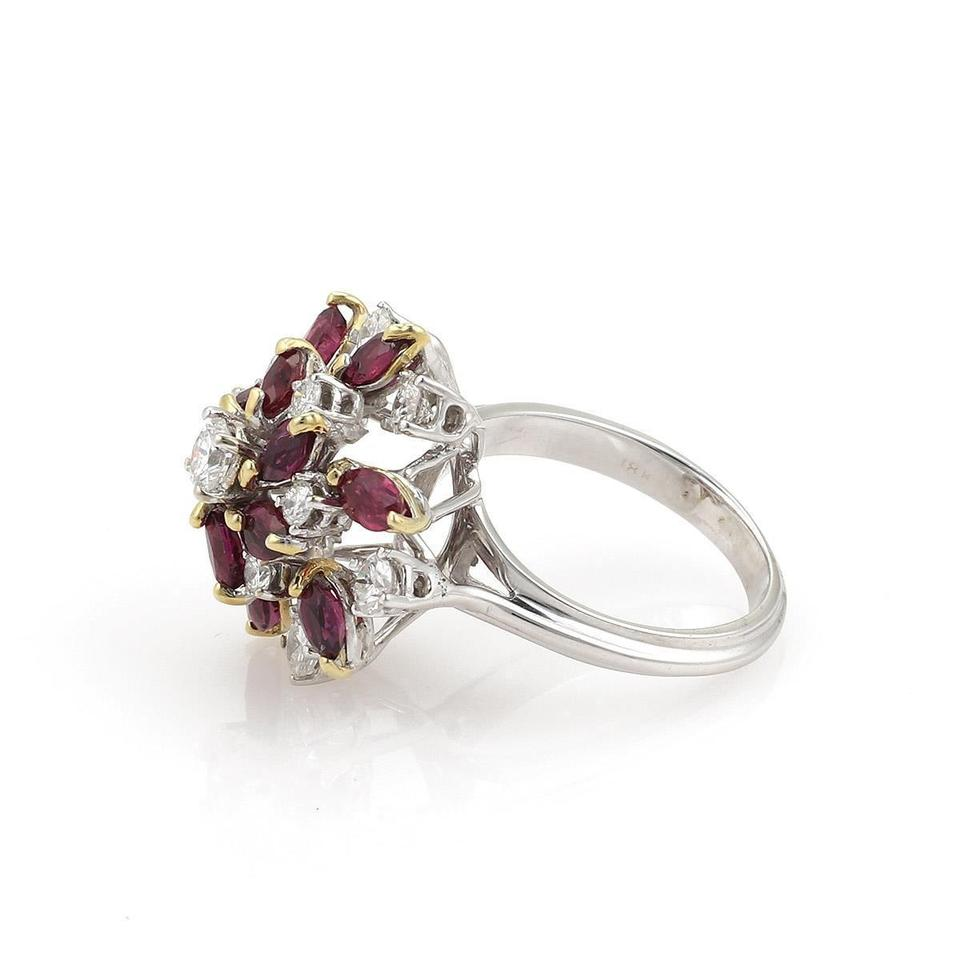 ff7122a3f Estate 3.05ct Diamond & Ruby 18k Gold Floral Cluster Ring - Tradesy
