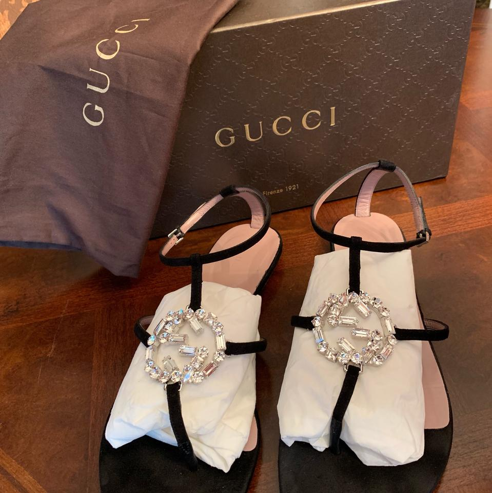 56825e3ada7b Gucci Black Gg Sparkling Suede Thong Sandals Size EU 39.5 (Approx. US 9.5)  Regular (M