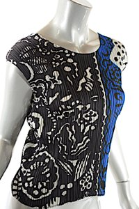 Issey Miyake Pleats Please Cobalt Print Top Blue Multi Color
