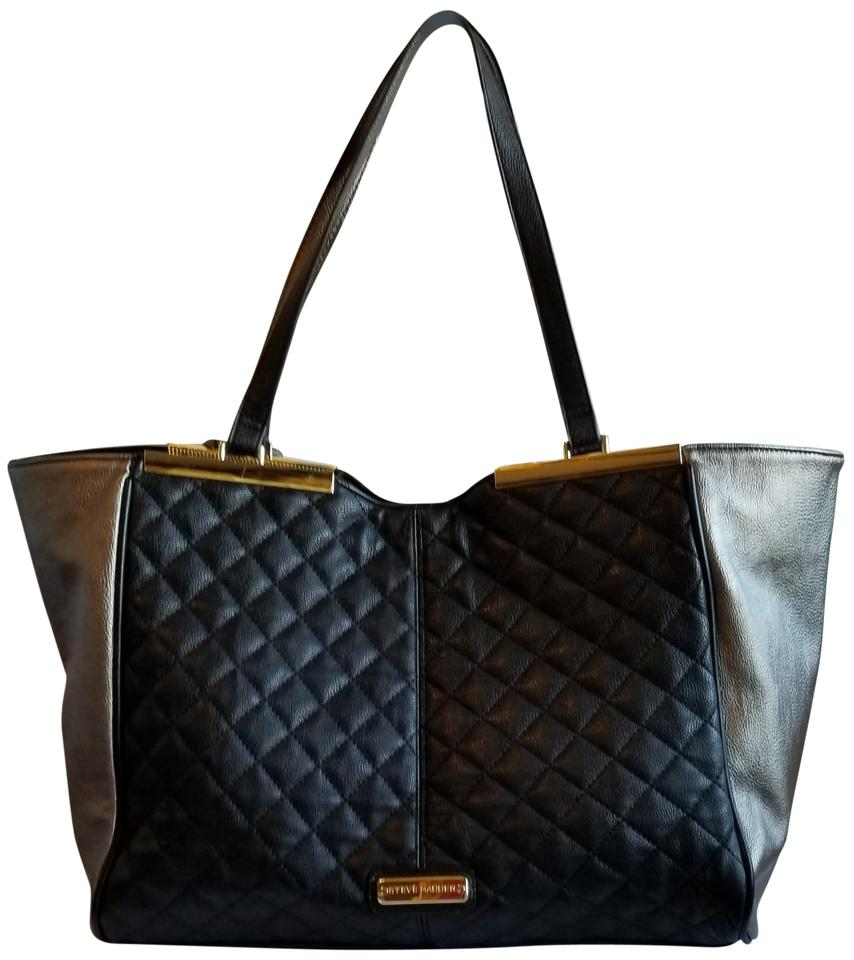 4524a2fb8ad Steve Madden Quilted Gold  Black Polyurethane Tote - Tradesy