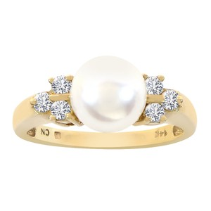 Avital & Co Jewelry 7.7mm Cultured Pearl and Round Diamond Ring 14K Yellow Gold