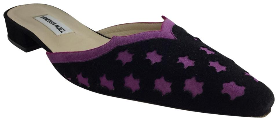 bdcb2aa6aeea3 Black Purple Suede with Trim and Cut Out Details. Mules/Slides Size ...