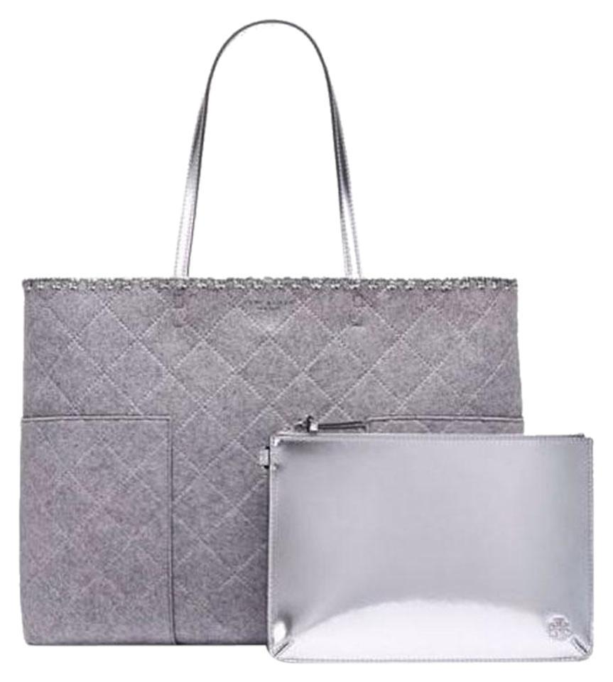 466f3e56d60b Tory Burch Block-T T Felt W Pouch Gray Silver Flannel Leather Tote ...
