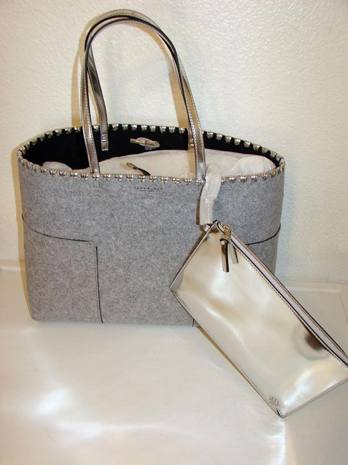 664efbce9f64 Tory Burch Block-T T Felt W Pouch Gray Silver Flannel Leather Tote - Tradesy
