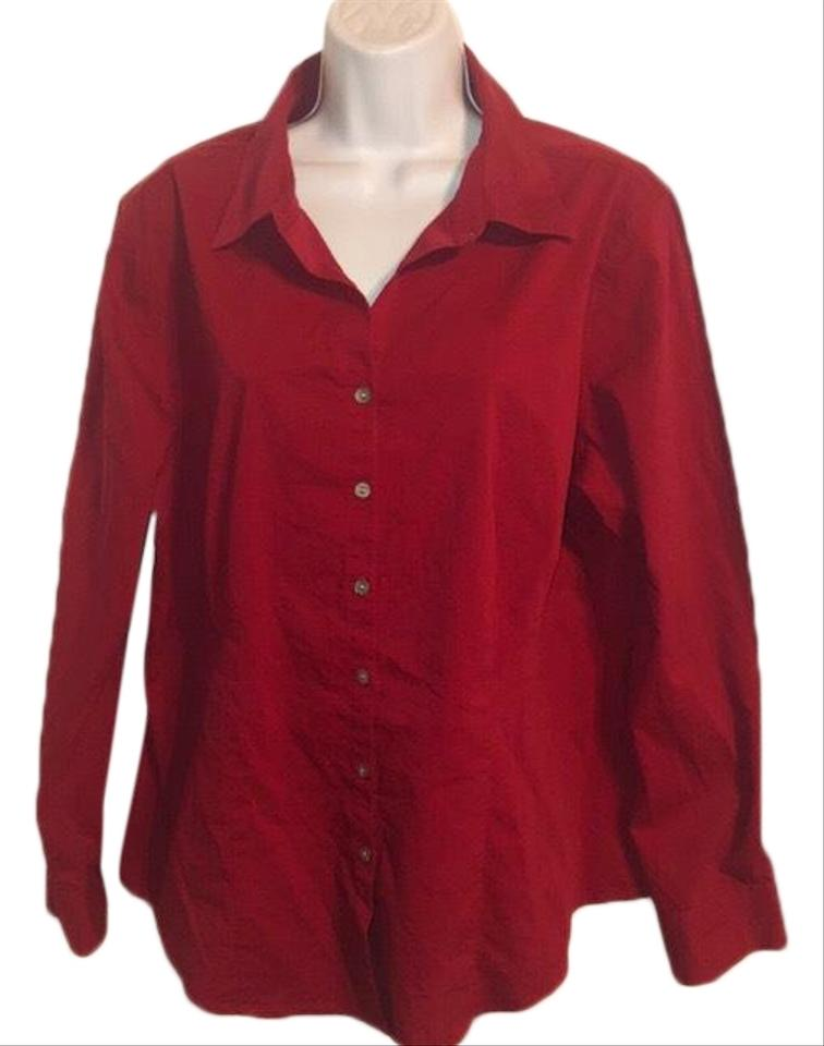 4cf0d98cc05308 Chico s Red Long Sleeve Stretch Blouse 3 (14) Button-down Top Size ...