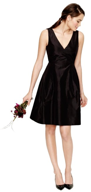 Item - Brown Silk Taffeta V-neck Sleeveless Delores Party Mid-length Cocktail Dress Size 14 (L)